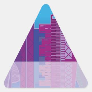 Vector del paisaje urbano pegatina triangular