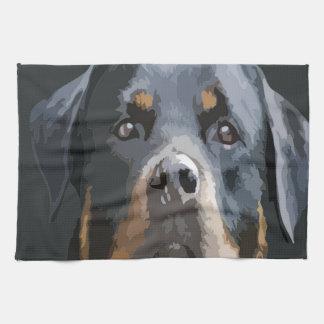 Vector del retrato de Rottweiler Toallas De Cocina