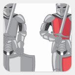 Vector del rojo del metal del caballero pegatina cuadrada