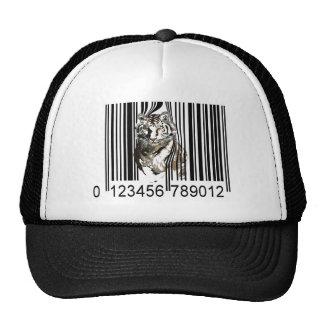 Vector divertido del código de barras del tigre gorro de camionero