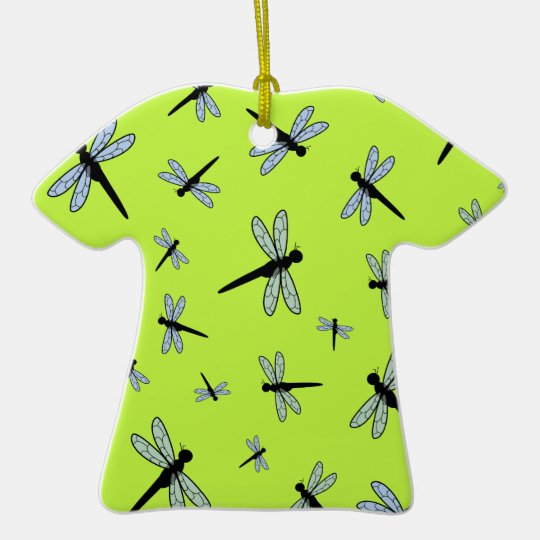 Vector Dragonfly Collage (Green Background) Ceramic Ornament