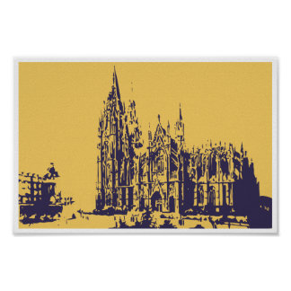 Vector drawing Cologne Cathedral (Kölner Dom) Posters