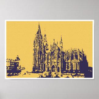 Vector drawing Cologne Cathedral (Kölner Dom) Poster
