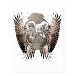 Vector elegante de las alas del cráneo postal