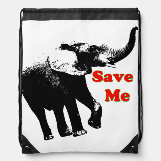 Vector  Elephant Save Me Drawstring Backpack