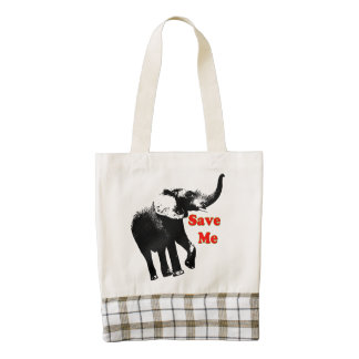 Vector  Elephant Save Me Zazzle HEART Tote Bag