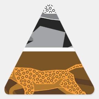 Vector estilizado del gato pegatina triangular