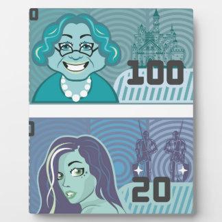Vector falso de la abuela 100 y del chica 20 del placas con fotos