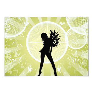 Vector Fashion Girl with Abstract Background GREEN 3.5x5 Paper Invitation Card