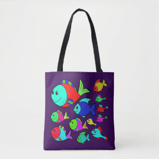 Vector Fishes Underwater Life Tote Bag