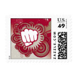 Vector Fist Punch - Original Red Postage Stamp