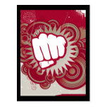 Vector Fist Punch - Original Red Postcard