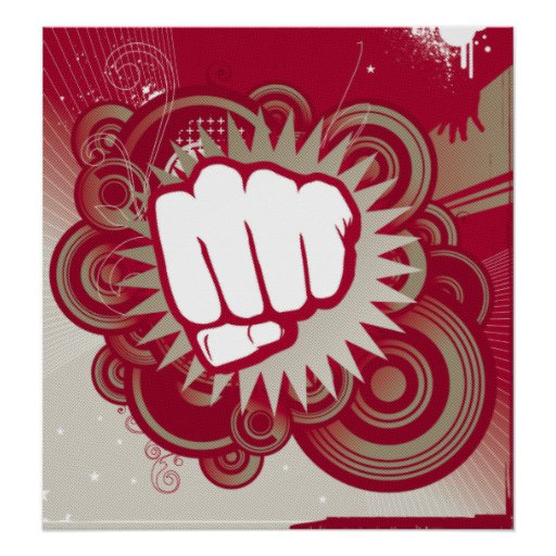 Vector Fist Punch - Original Red Poster