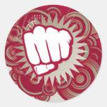 Vector Fist Punch - Original Red Round Sticker