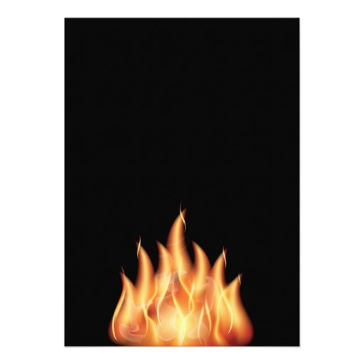 vector-flames1- HOT FIRE FLAMES BURING BLACK ORANG Personalized Invite
