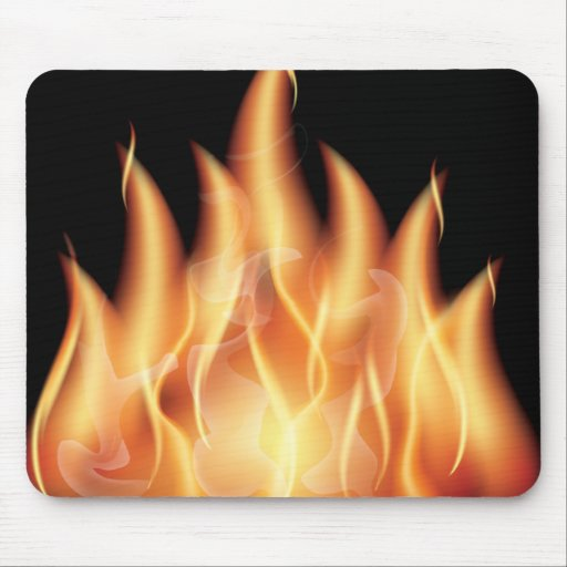 vector-flames1- HOT FIRE FLAMES BURING BLACK ORANG Mousepad