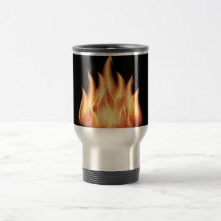 vector-flames- HOT FIRE FLAMES BURING BLACK ORANG 15 Oz Stainless Steel Travel Mug