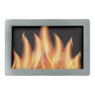vector-flames- HOT FIRE FLAMES BURING BLACK ORANG Rectangular Belt Buckle