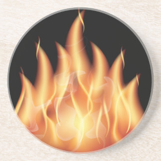 vector-flames- HOT FIRE FLAMES BURING BLACK ORANG Drink Coaster