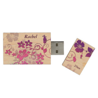 Vector Floral Art Design Monogram USB Flash Drive