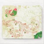 Vector floral del vintage, pájaro lindo y remolino tapetes de ratones