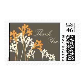 Vector Floral Design Dark Thank You Postage stamp