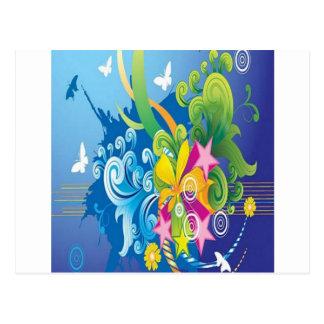 Vector floral design postcard
