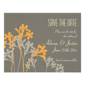 Vector Floral Design Save The Date Invitation Dark