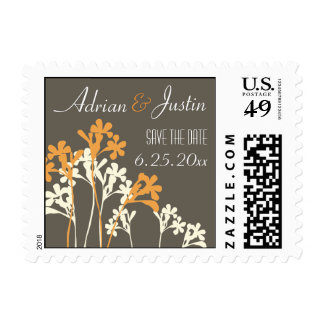 Vector Floral Design Save The Date Postage Dark
