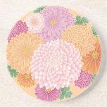 Vector floral japonés anaranjado rosado lindo posavaso para bebida