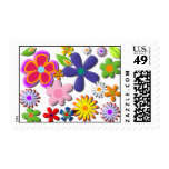 Vector floral retro del flower power sello