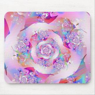 Vector floral rosado femenino lindo subió mouse pads