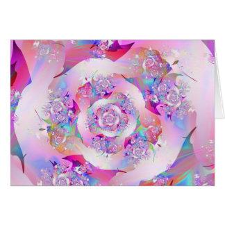 Vector floral rosado femenino lindo subió tarjeta pequeña