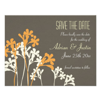 Vector Floral Save The Date Invitation Dark