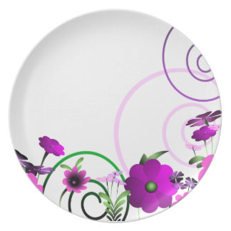 Vector Flower Melamine Plate