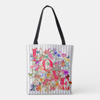 Vector flower with tex LOVE Tote Bag