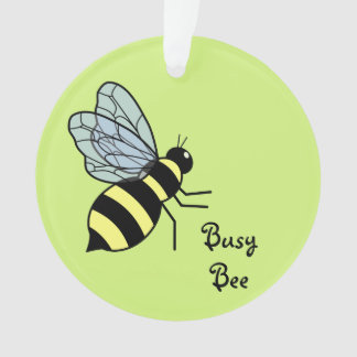Vector Flying Bee (Green Background)