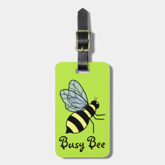 Vector Flying Bee (Green Background) Bag Tags