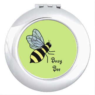 Vector Flying Bee (Green Background) Mirror For Makeup