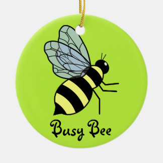Vector Flying Bee (Green Background) Christmas Tree Ornaments