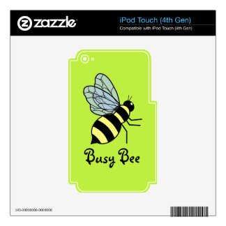 Vector Flying Bee (Green Background) iPod Touch 4G Decal