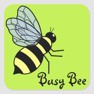 Vector Flying Bee (Green Background) Square Sticker