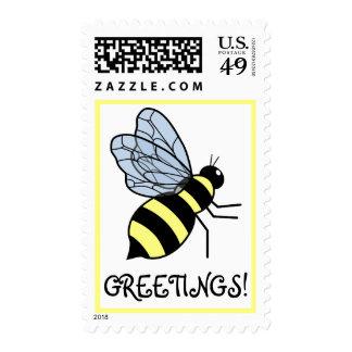 Vector Flying Bee Stamp