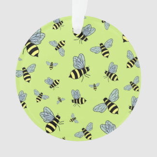 Vector Flying Bees (Green Background)