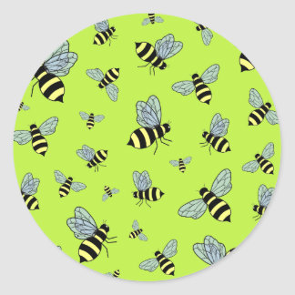 Vector Flying Bees (Green Background) Classic Round Sticker