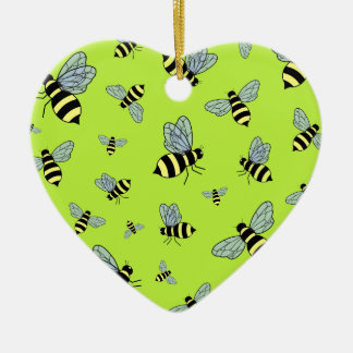 Vector Flying Bees (Green Background) Ornament