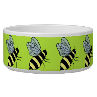 Vector Flying Bees (Green Background) Pet Water Bowls