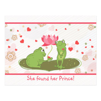 Vector Frogs Hearts Save The Date Postcard