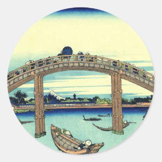 Vector Fuji a través del puente de Mannen Pegatina Redonda