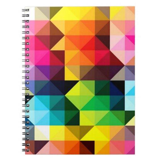 Vector geométrico del modelo colorido libros de apuntes con espiral